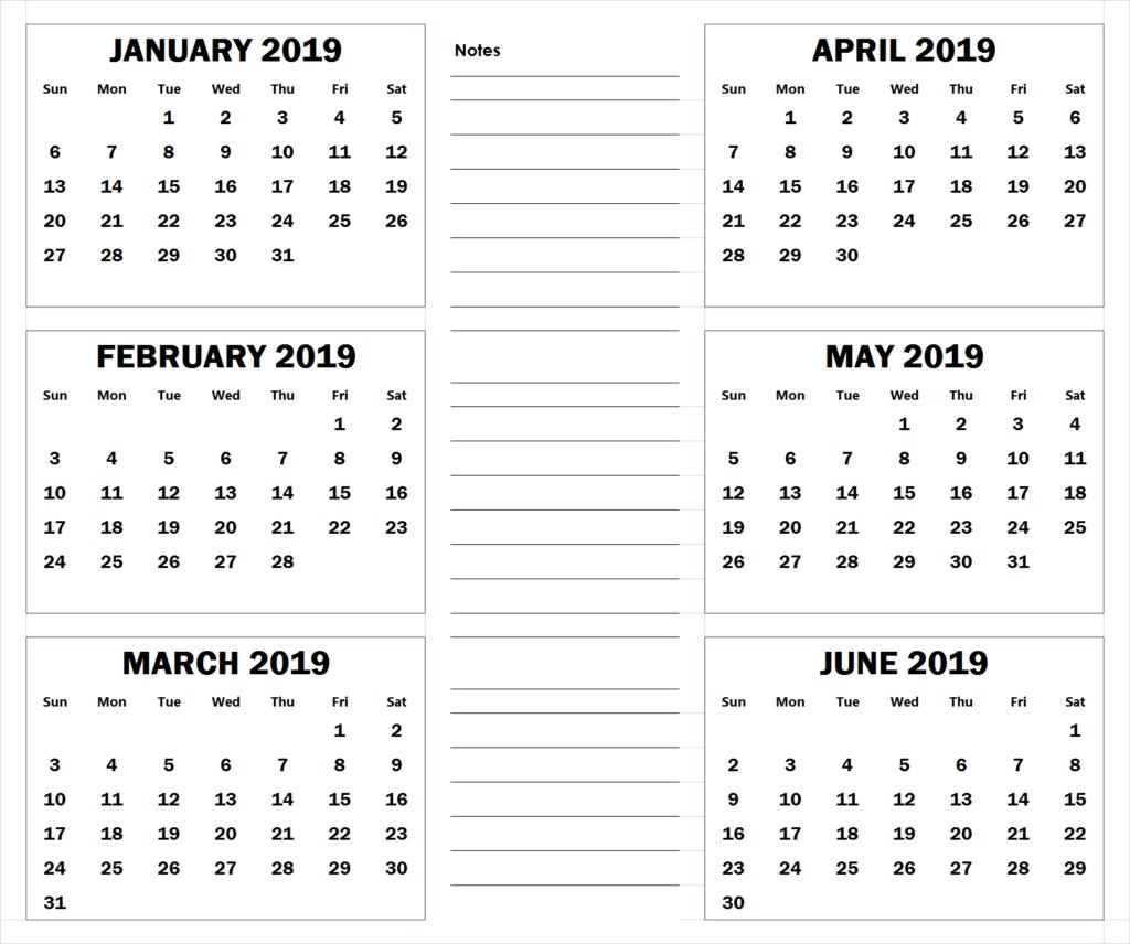 Blank Six Month 2019 Printable Calendar | Calendar Template  Calender 6 Months