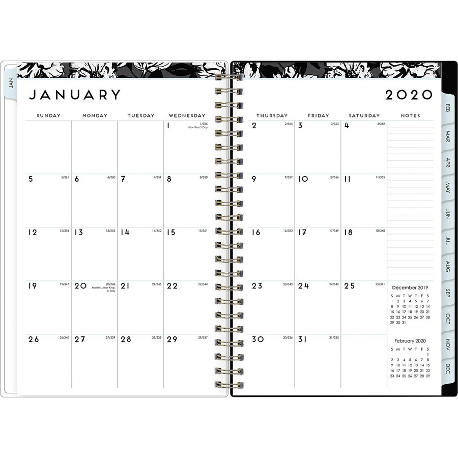 Blue Sky Baccara Dark Weekly/Monthly Planner - Julian Dates  Military Calendar 2021, With Julian Day