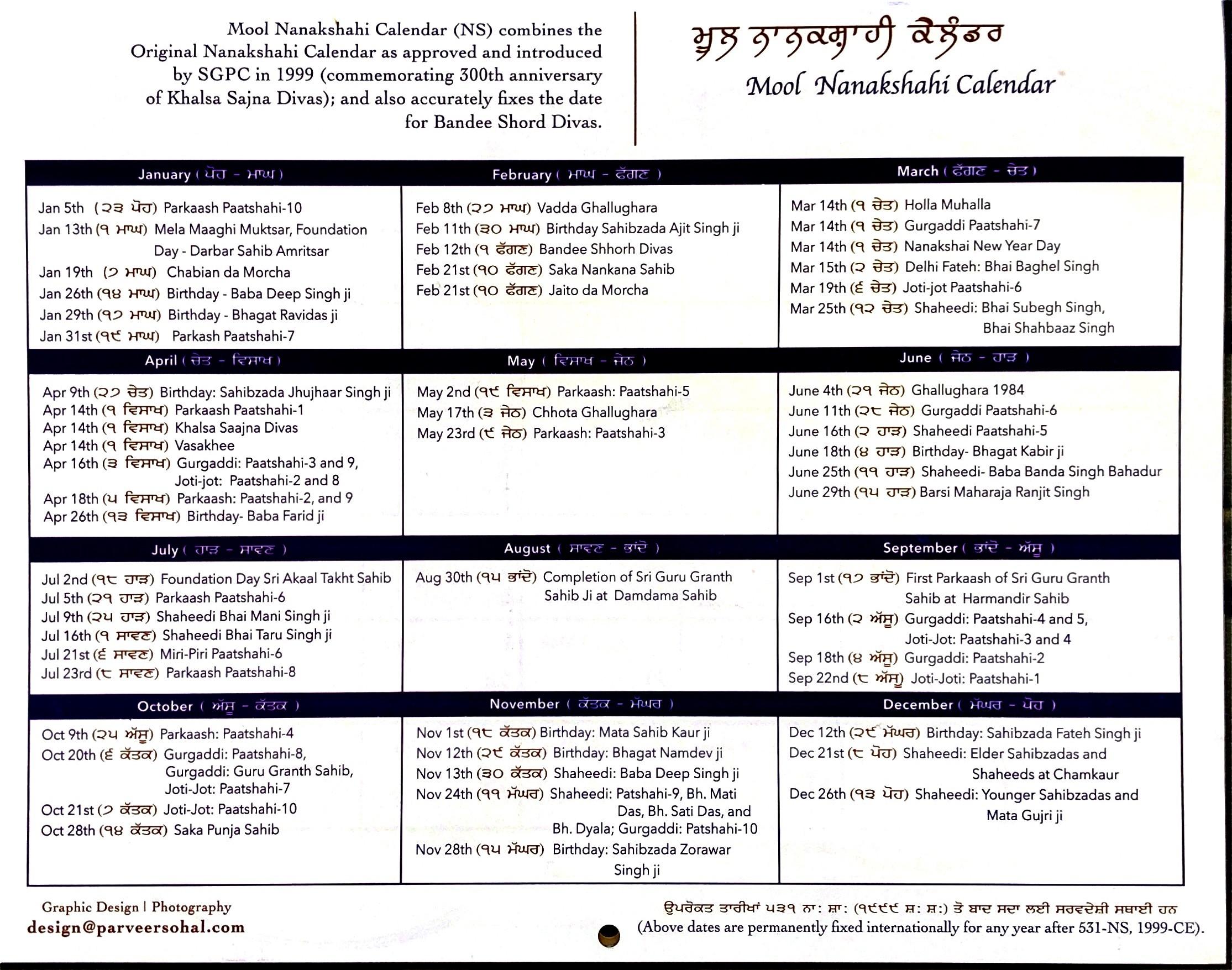Calendar 2020-2021 – Mool Nanakshahi Calendar  Punjabi Calendar 2021