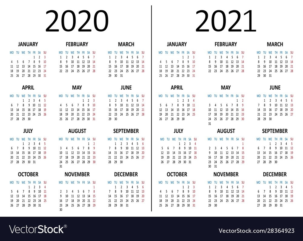 Calendar 2020 2021 Week Starts From Monday Vector Image  Calendar 2021 With Gregorian Dates