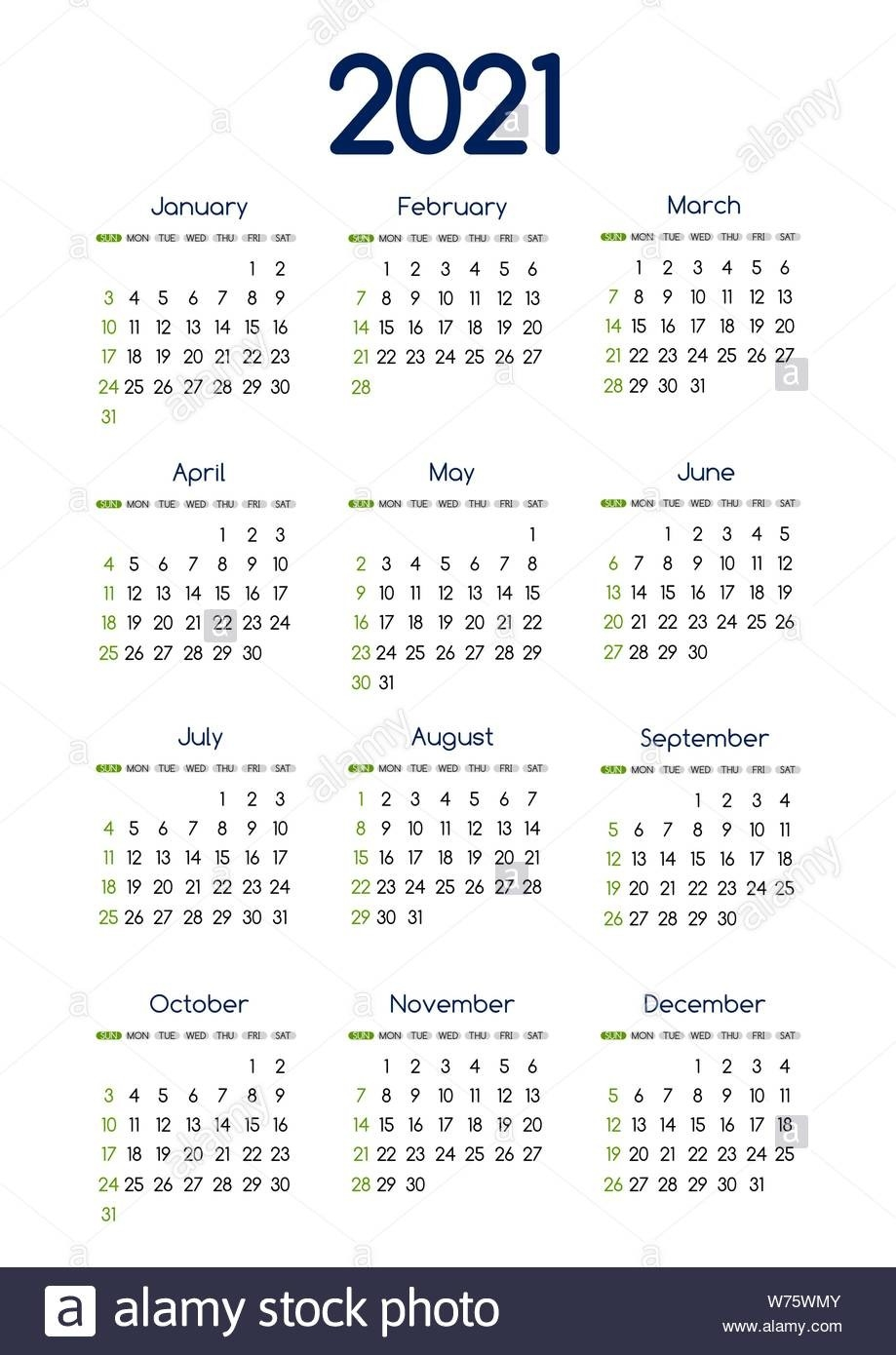 Calendar 2021 High Resolution Stock Photography And Images  Printable 2021 Year Grid Style