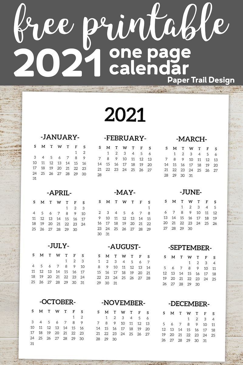 Calendar 2021 Printable One Page | Paper Trail Design In  Free Calendar 2021, 2021