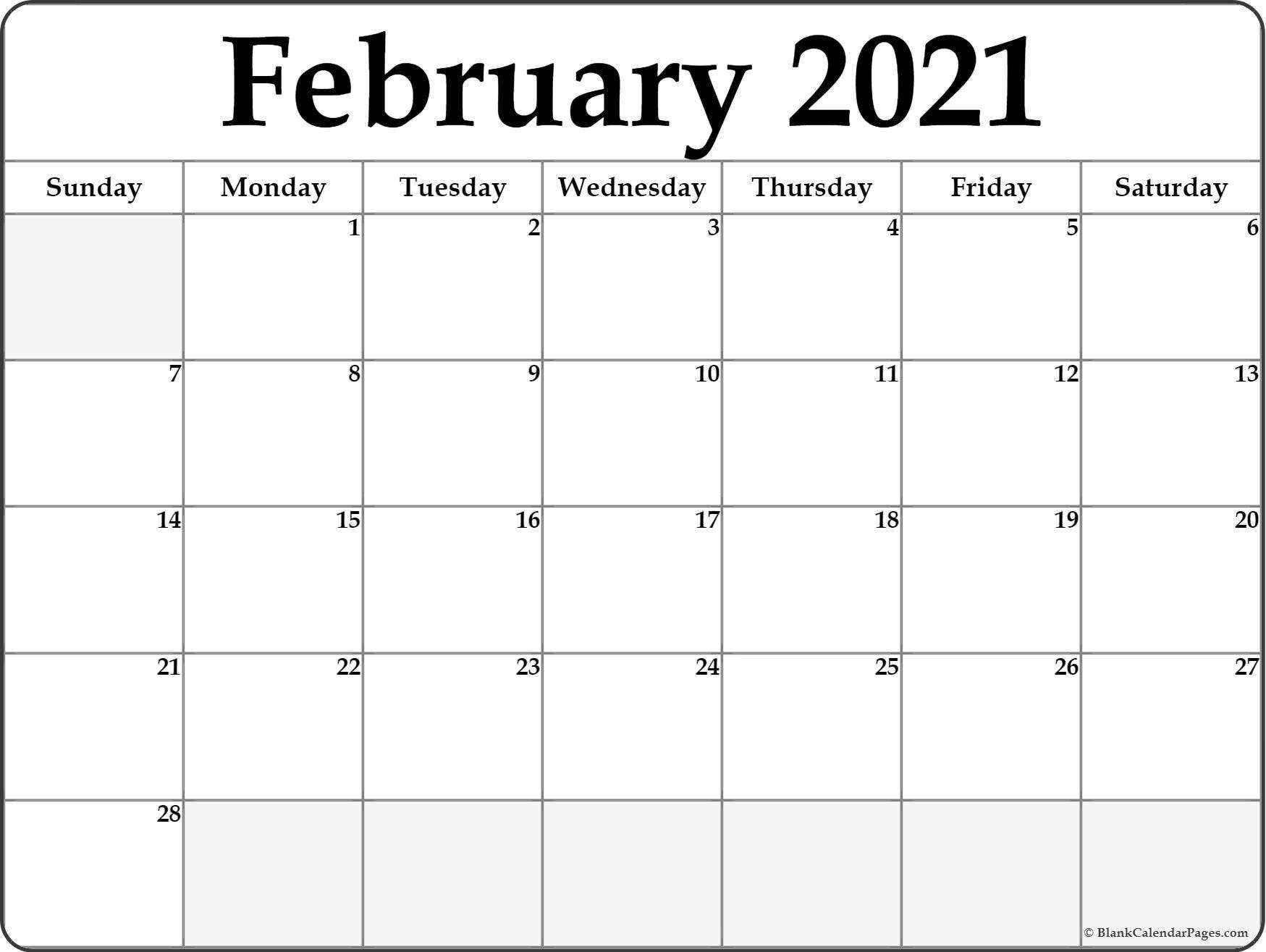 Calendar February 2021 Editable Planner In 2020 | February  2021 Free Printable Editable Monthly Calendar Template