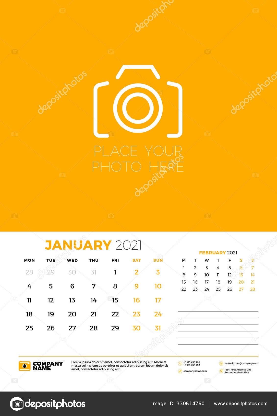 Calendar For January 2021. Week Starts On Monday. Wall Calendar Planner  Template. Vector Illustration 330614760  2021 Calendar Depo