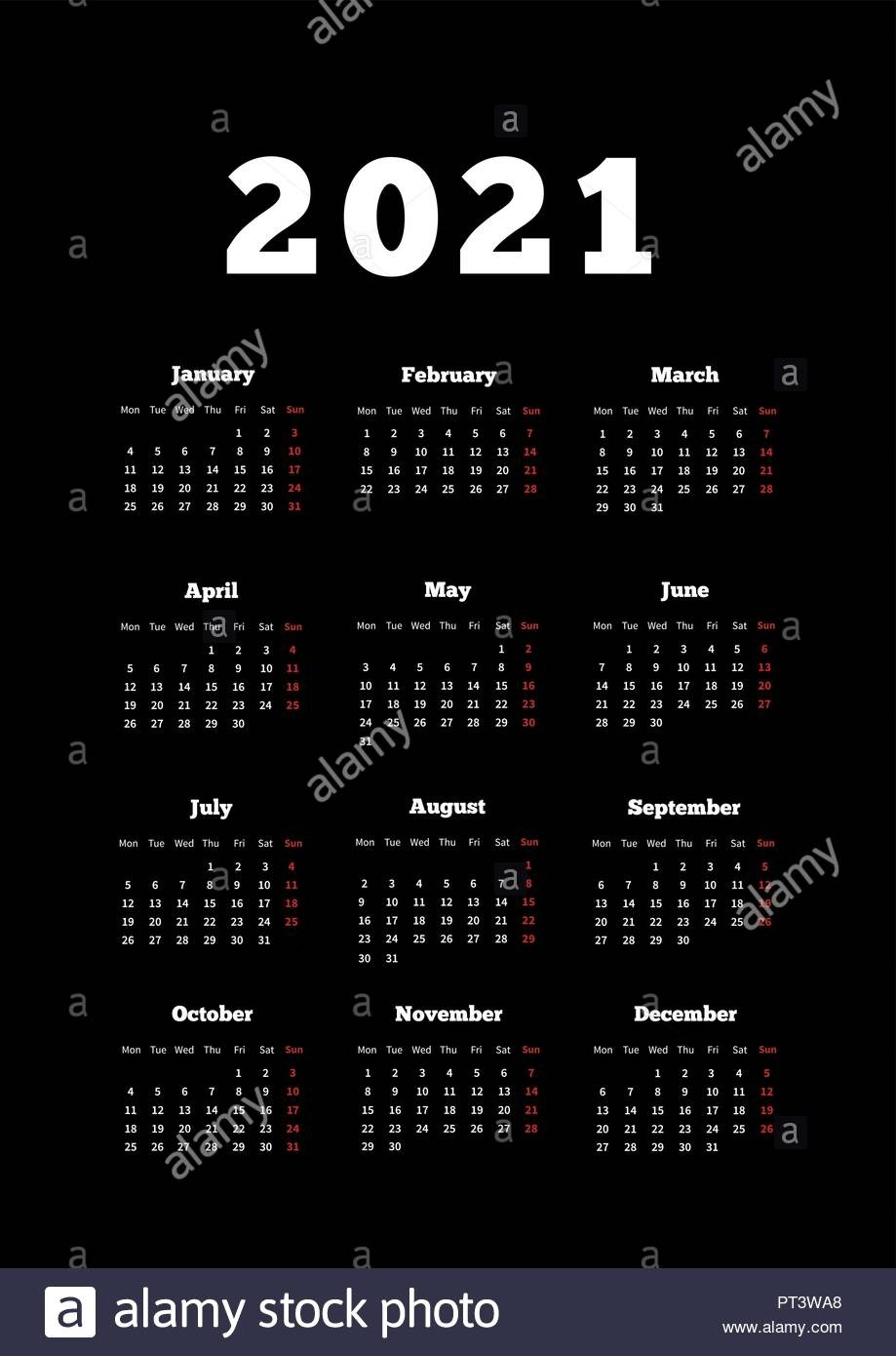 Calendar Of 2021 Year With Week Starting From Monday, A4  Calendar 2021 With Gregorian Dates