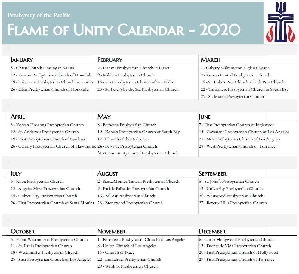 Calendar – Presbytery Of The Pacific  Presbyterian Usa Liturgical Calendar