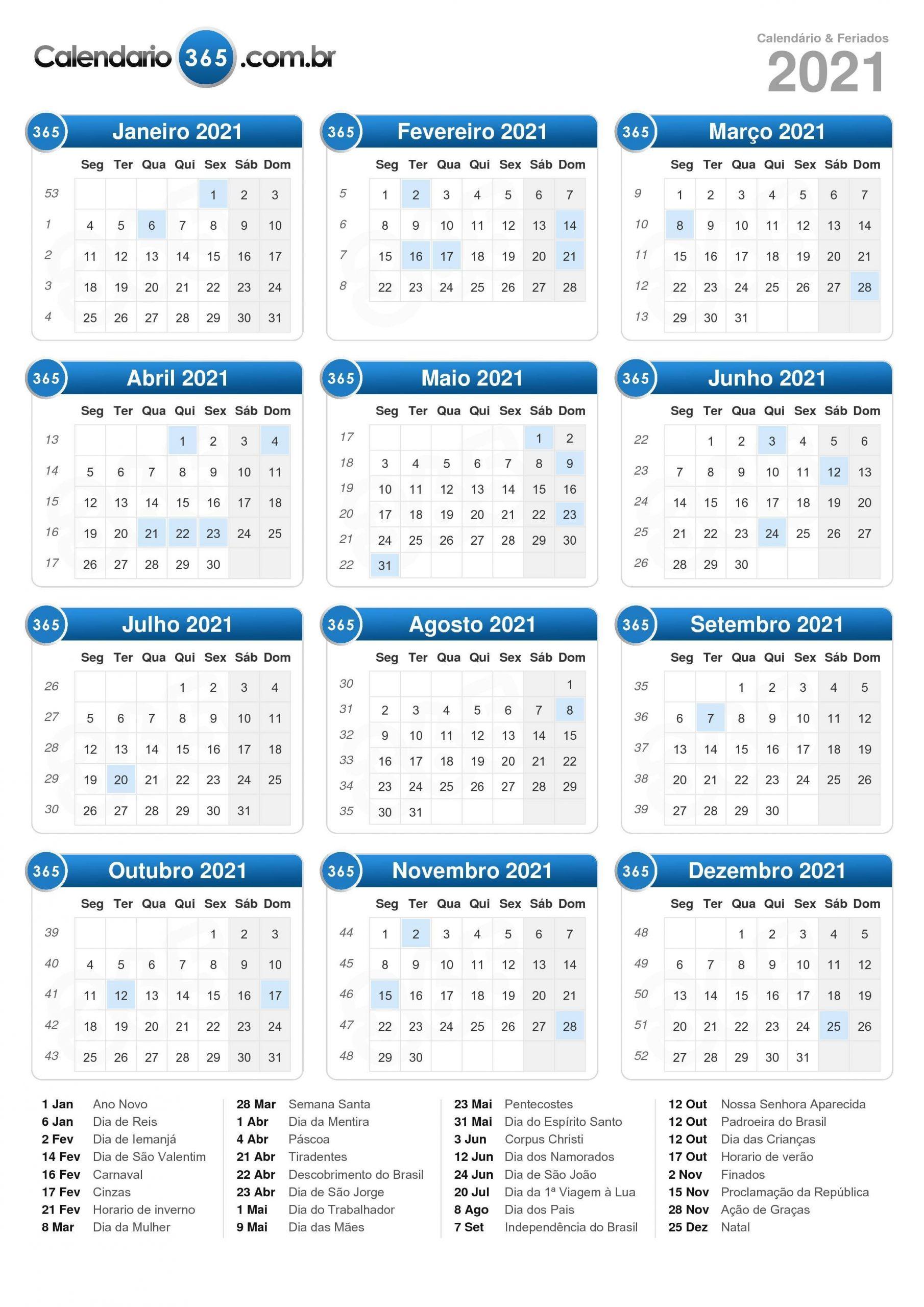 Calendário 2021  Dia Juliano 2021