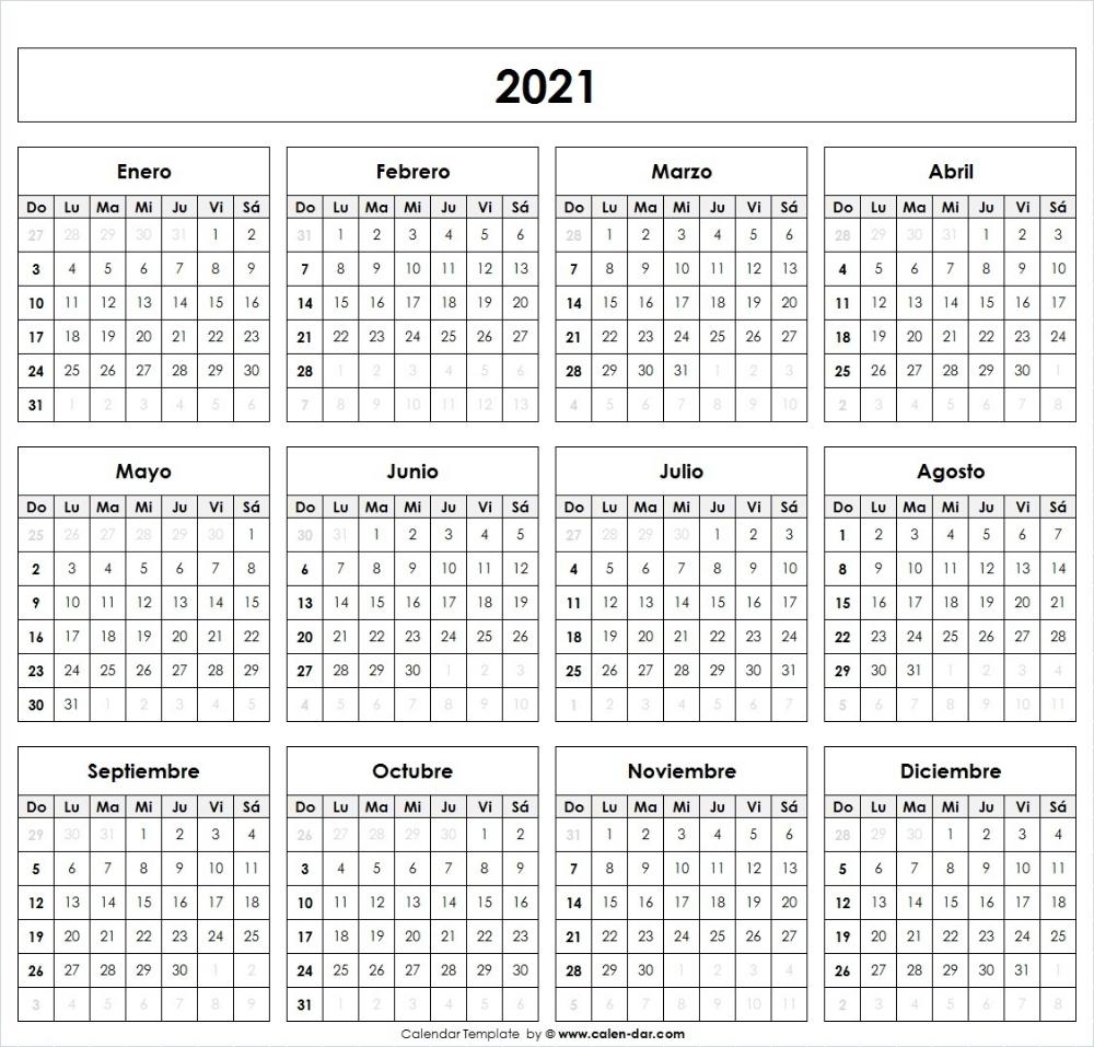 Calendario 2021 Para Imprimir Por Meses | Modelo Calendario  Calendario Por Mes Para Imprimir 2021