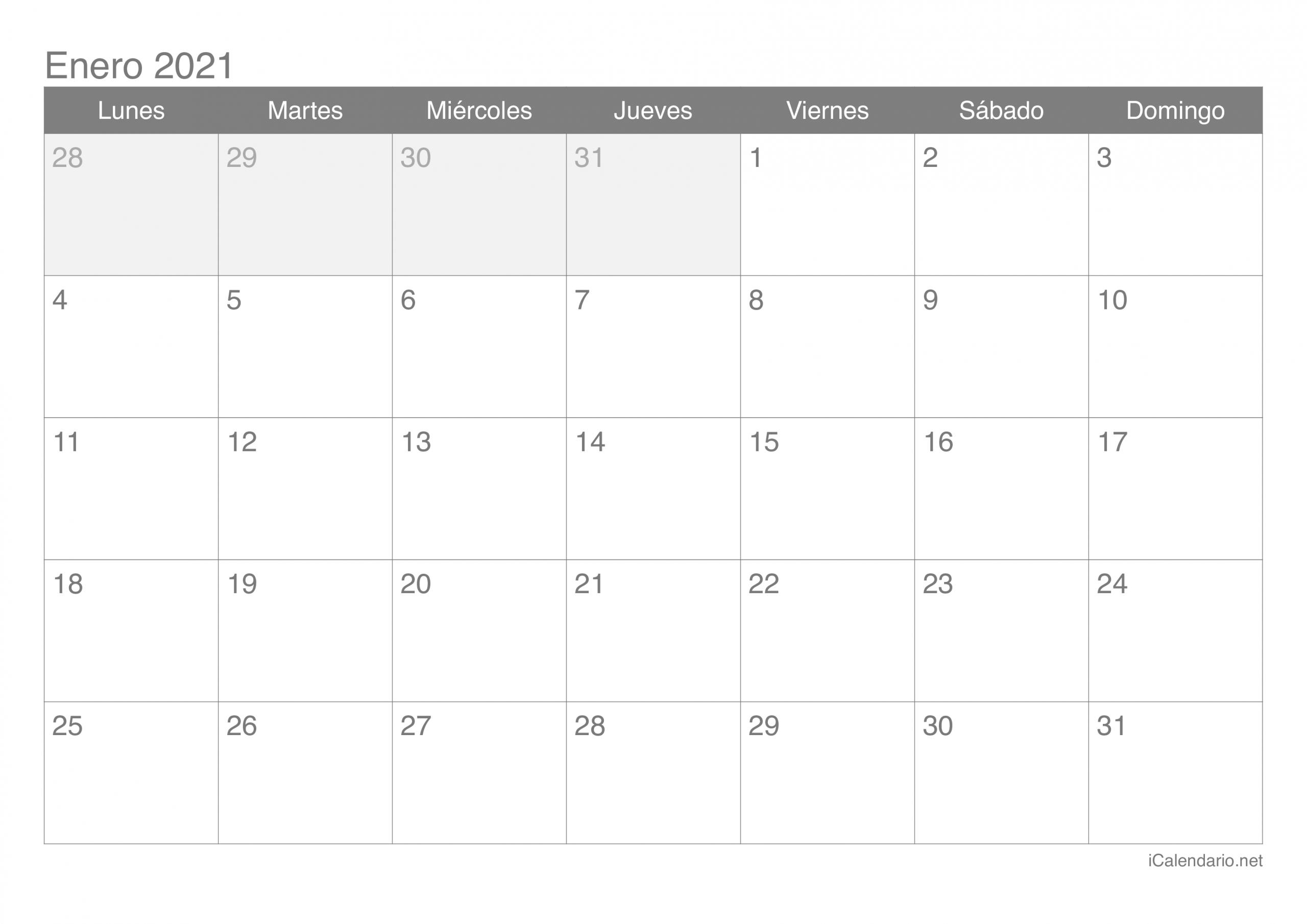 Calendario Enero 2021 Para Imprimir - Icalendario  Calendario Por Mes Para Imprimir 2021