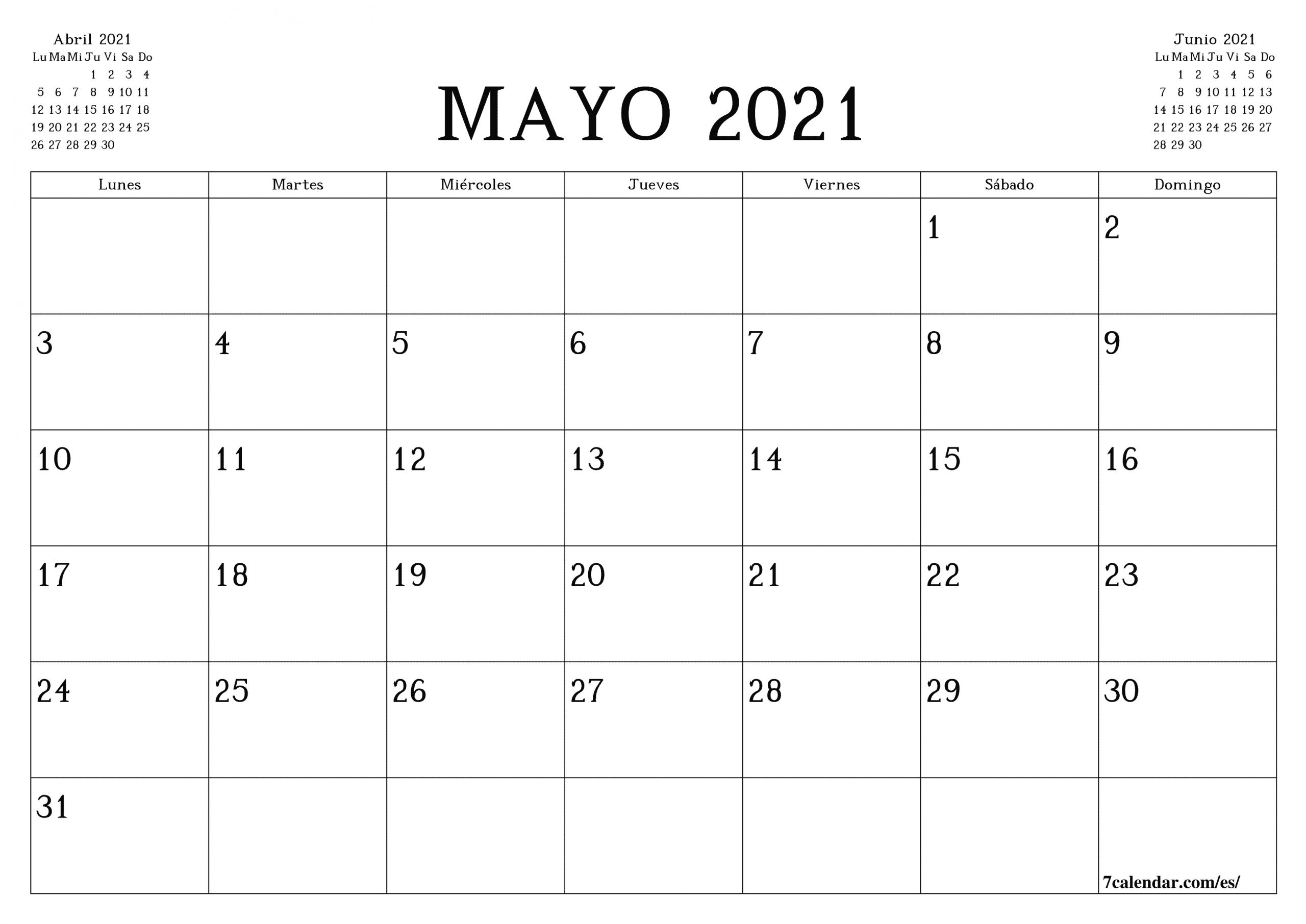 Calendario Y Planificador Mensual En Blanco Para Imprimir  Calendario Por Mes Para Imprimir 2021