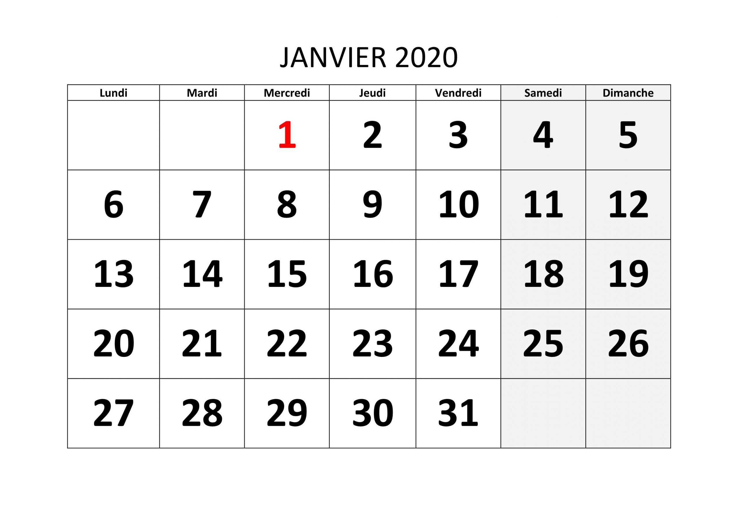 Calendrier Mensuel 2020 À Imprimer: Calendrier Mensuel Jours  Calendrier Mensuel