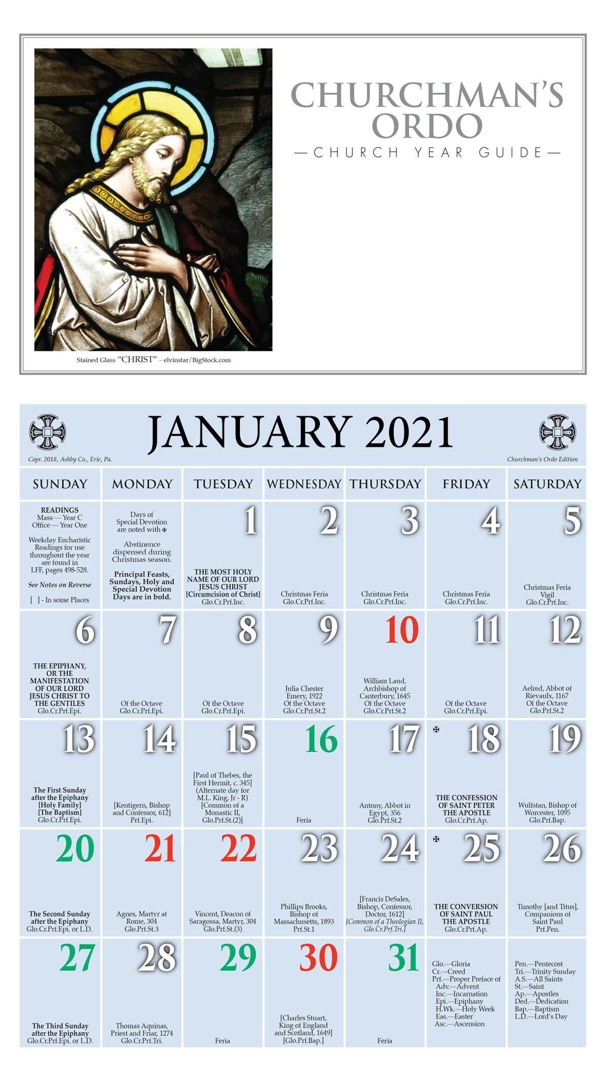 Churchpublishing: Churchman'S Ordo Kalendar 2021  2021 Lectionary Schedule