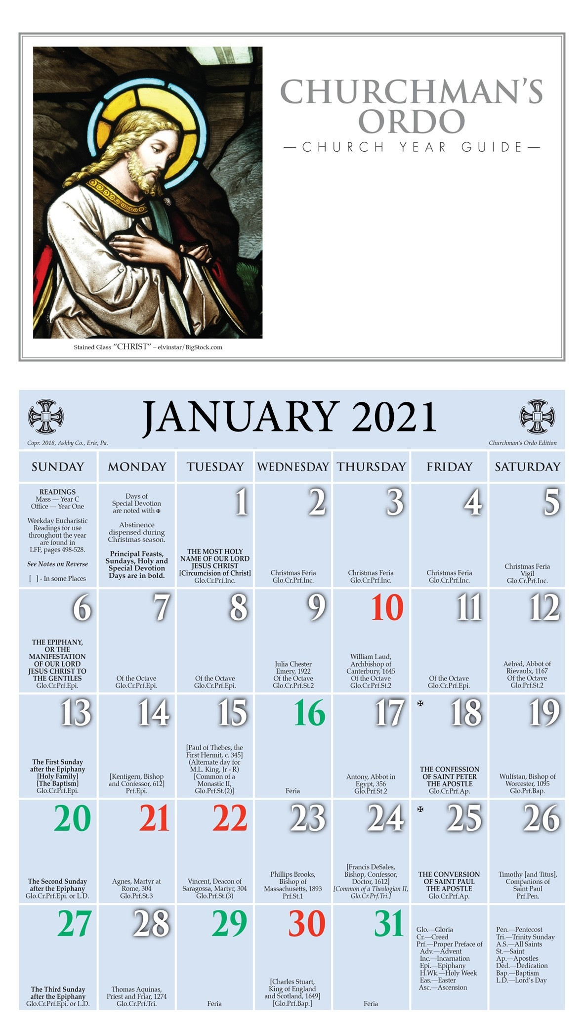 Churchpublishing: Churchman'S Ordo Kalendar 2021  Common Lectionary 2021