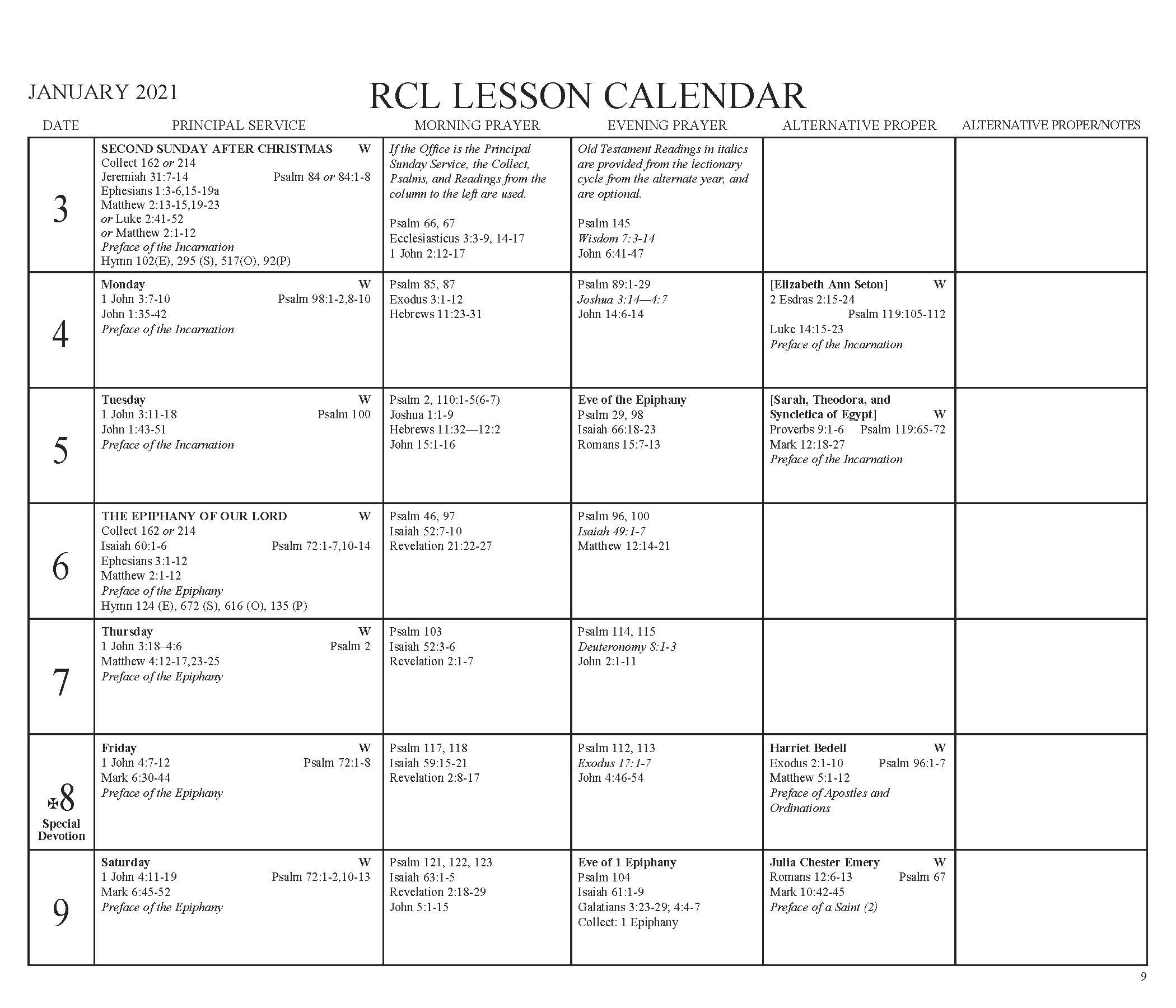 Churchpublishing: Episcopal Church Lesson Calendar Rcl 2021  2021 Lectionary Schedule
