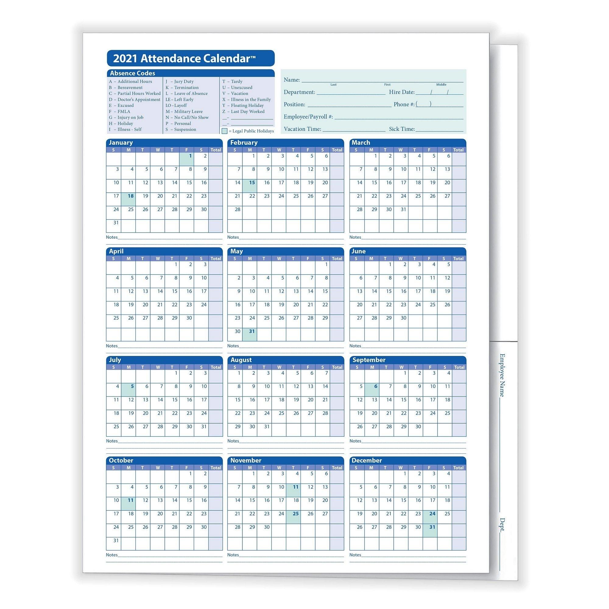Complyright 2021 Attendance Calendar Folder, White, Pack Of 25  2021 Attendance Calendar