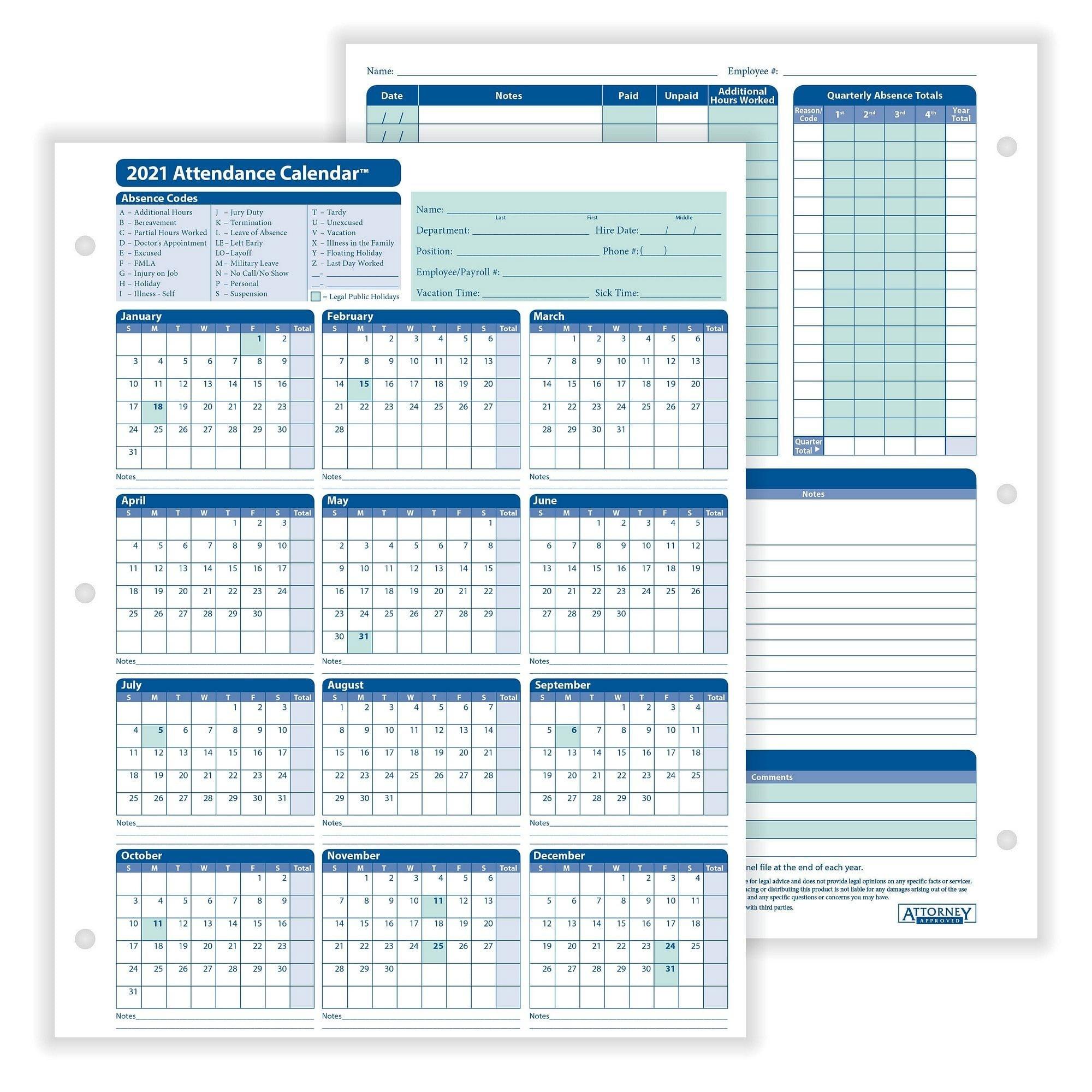 """Complyright 2021 Attendance Calendar, White, 8-1/2"""" X 11"""" - 50 Per Pack  2021 Attendance Calendar"""