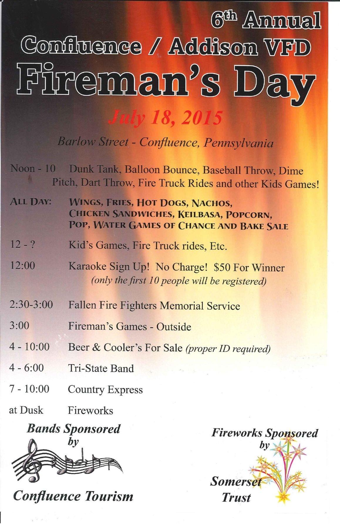 Confluence Addison Fireman'S Day Schedule | | Dailyamerican  Firemans Scheule B