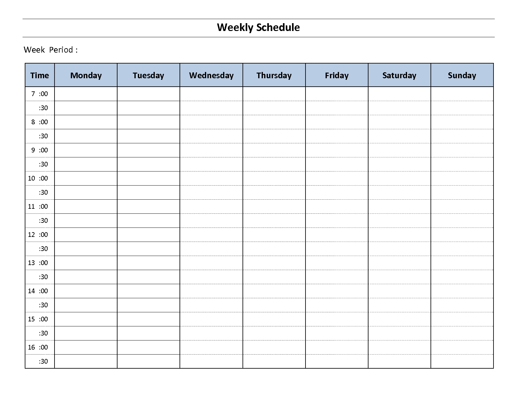 Construction Schedule Template Excel Free Download | Weekly  7 Day Schedule Template In Every 30 Minutes