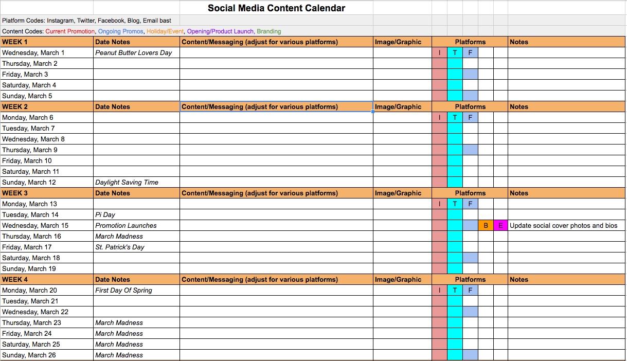 Creating A Better Social Media Content Calendar | Six  Social Media Calendar Template Excel Free