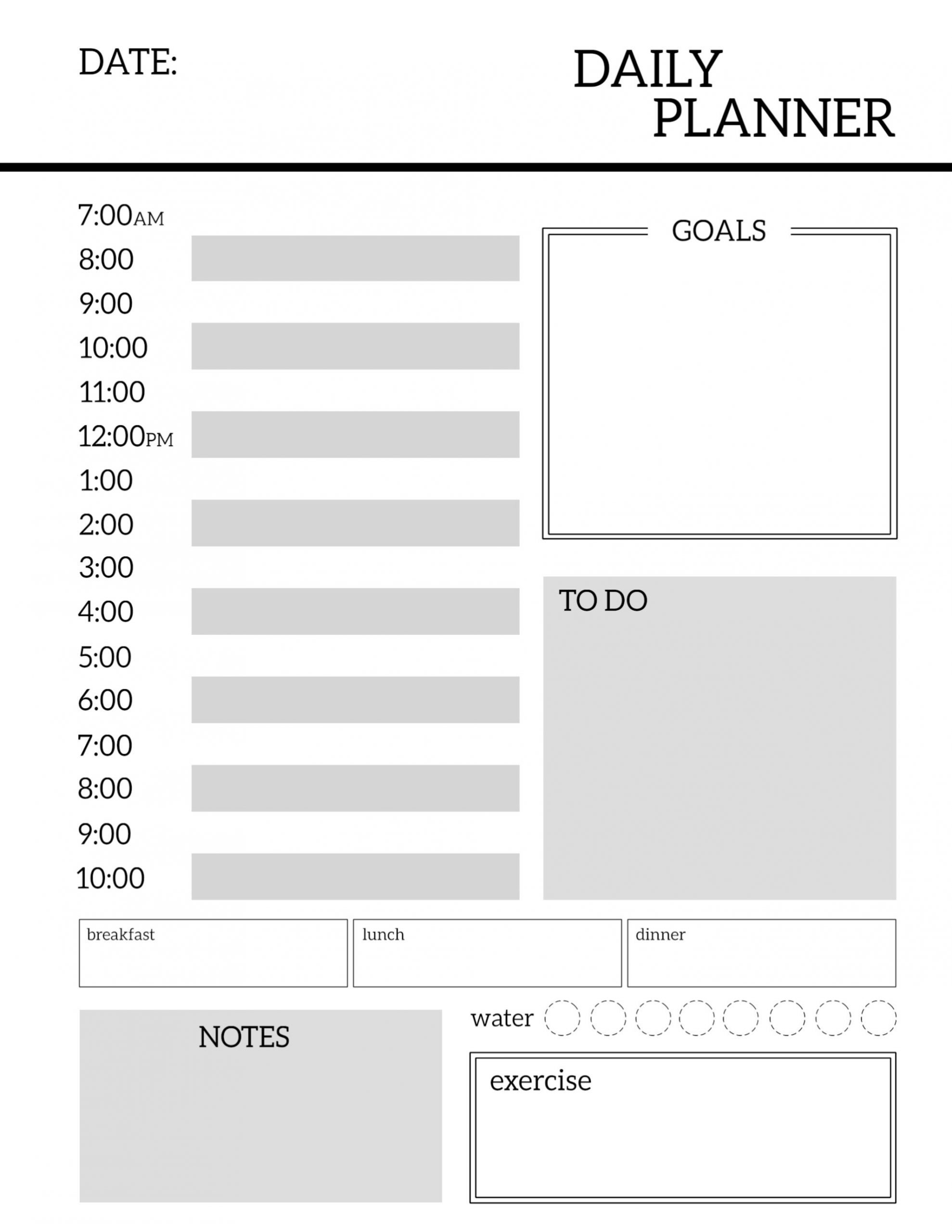 Daily Planner Printable Template Sheets | Paper Trail Design  Blank Dialy Planner