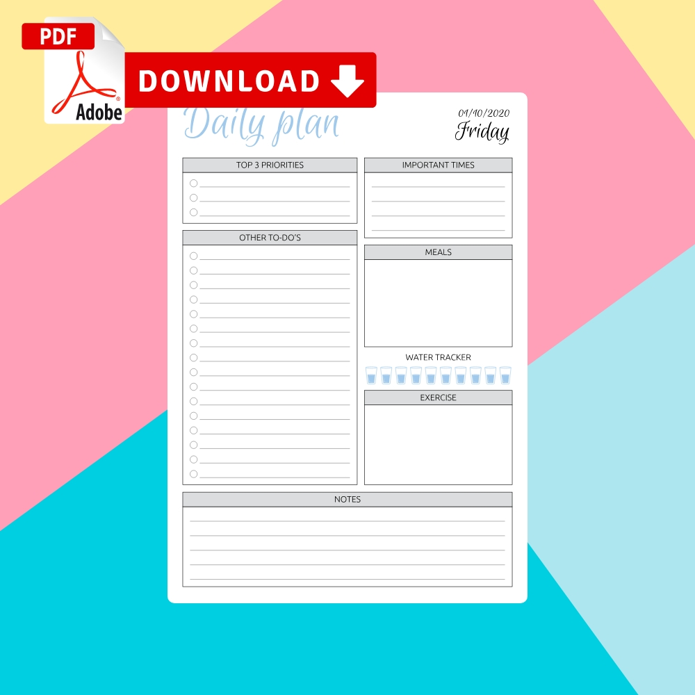 Daily Planner Templates Printable - Download Pdf  Blank Dialy Planner