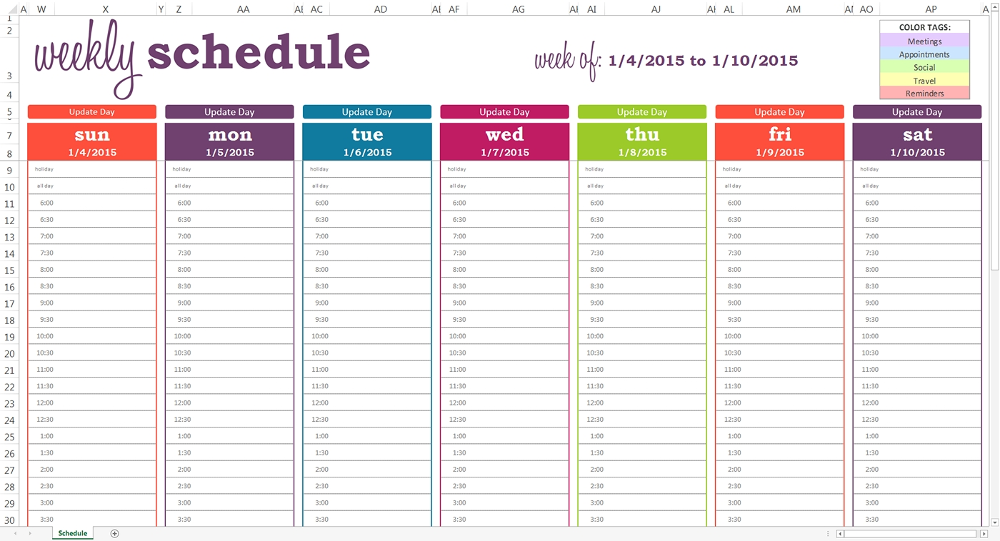 Daily Planner With Time Slots Template – Printable June July  Weekly Diary Sheets With Hourly Slots