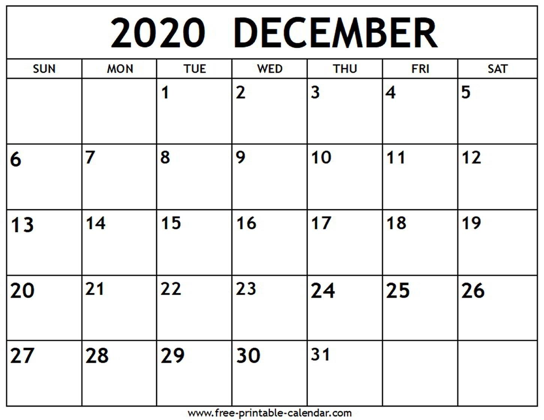 December 2020 Calendar - Free-Printable-Calendar  2020 Calendar Printable