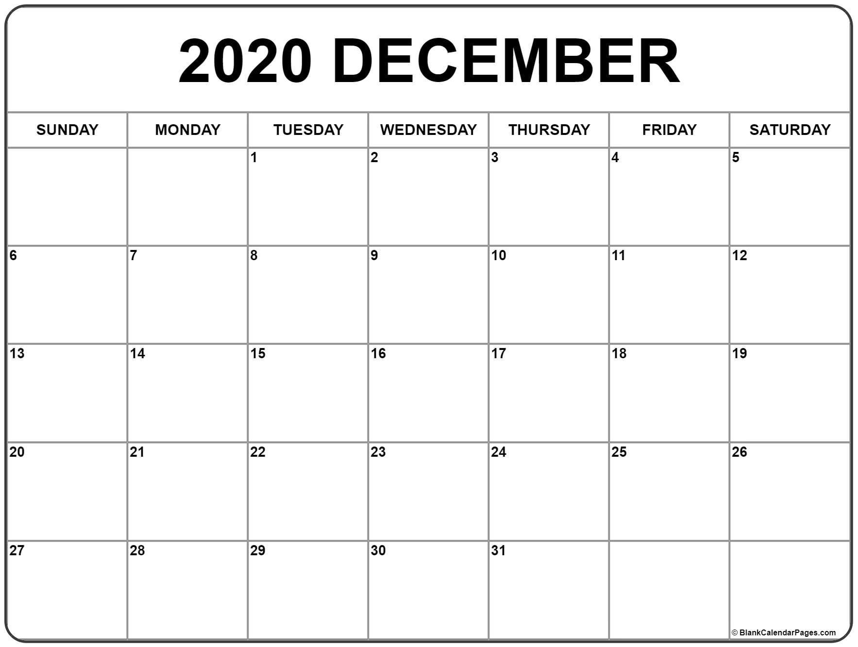 December 2020 Calendar | Free Printable Monthly Calendars  2020 Calendar Printable