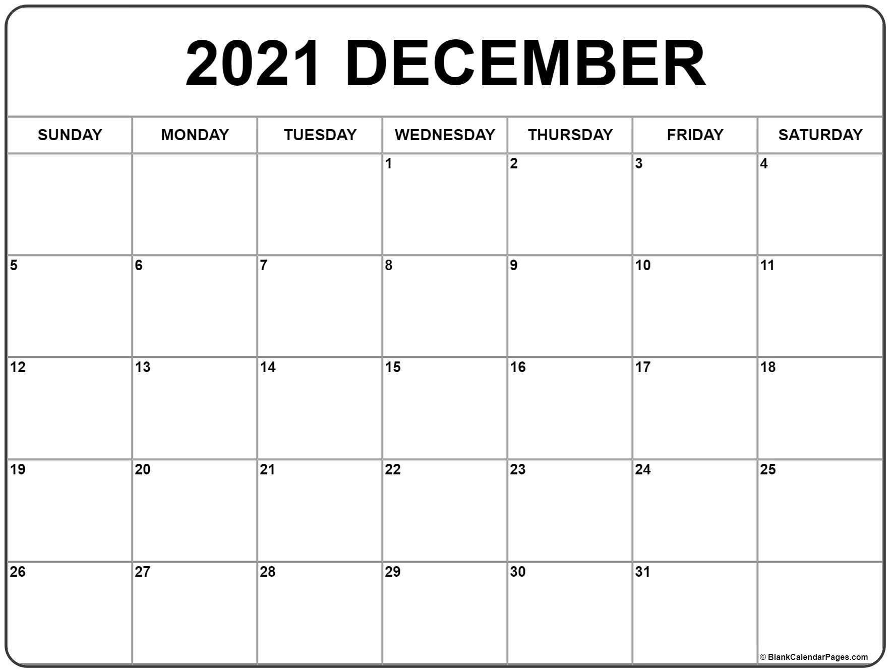 December 2021 Calendar | Free Printable Monthly Calendars  Free Printable Bill Calendar 2021