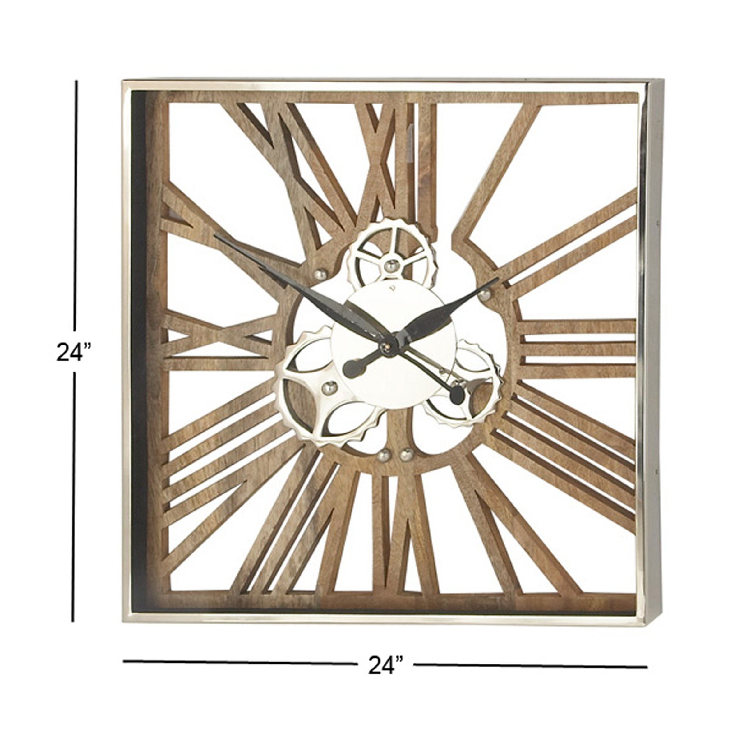 Decmode Industrial 24 X 24 Inch Square Wood, Aluminum And Stainless Steel  Gear Wall Clock  Wall Calendar Frame Plan - Item 49887