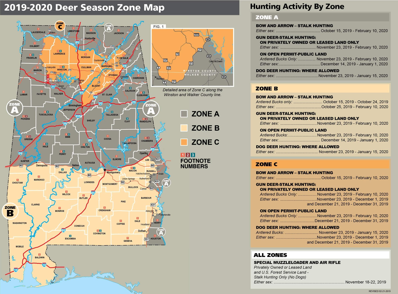 Deer Seasons & Bag Limits | Alabama Hunting & Fishing  Georgia Deer Hunting Map