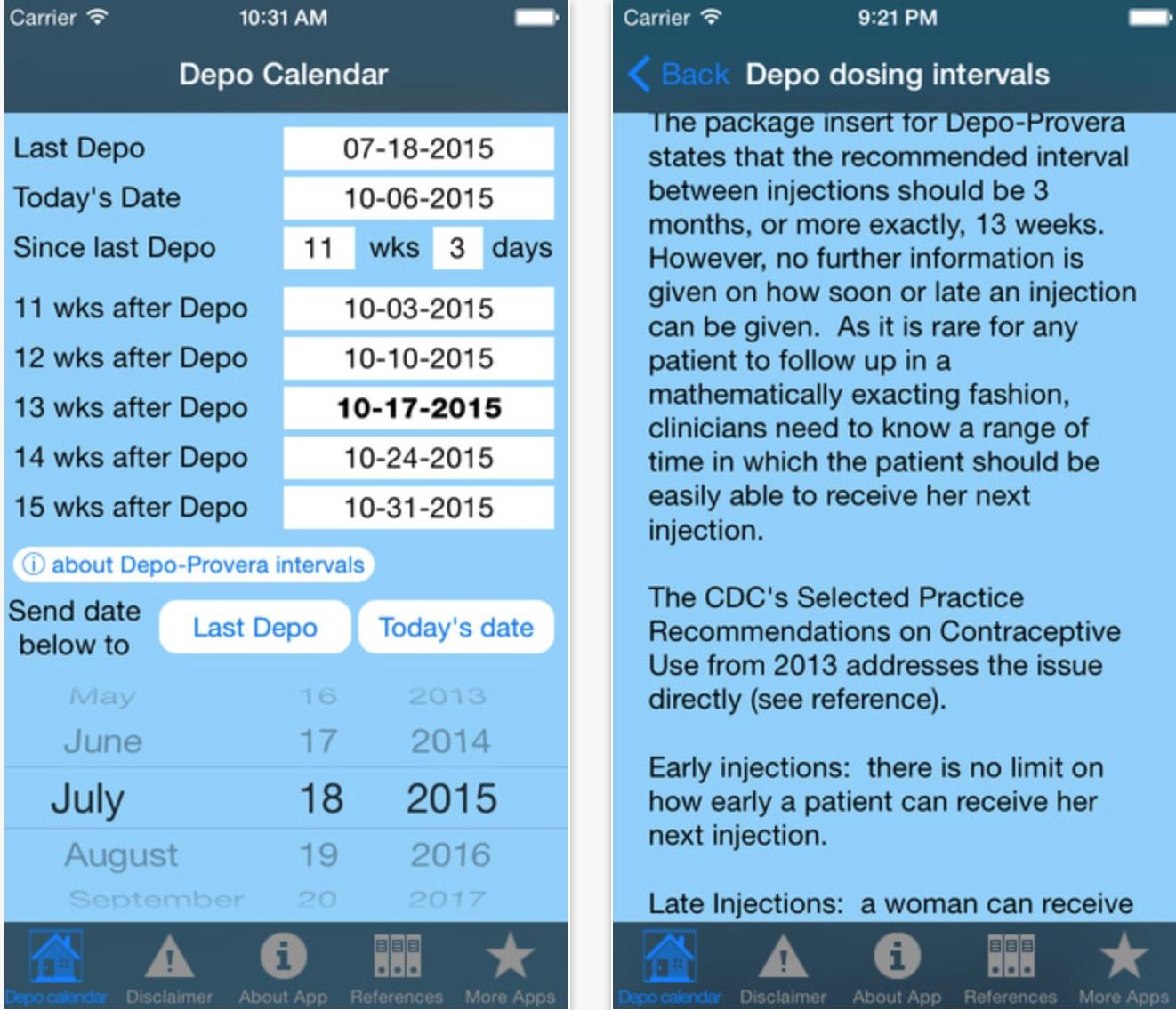 Depo Calendar App Could Significantly Improve Contraception  Depo-Provera Calcualtor Calender