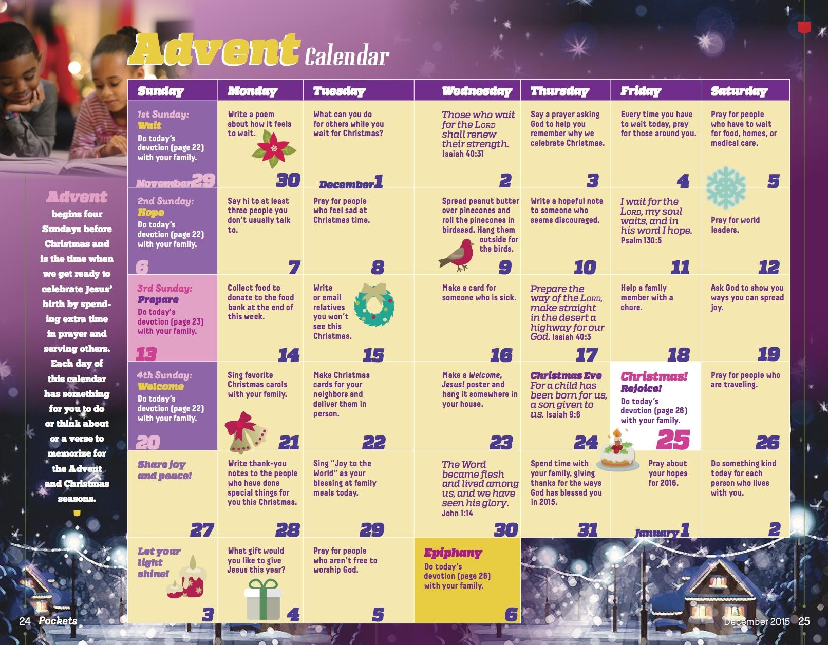 Discipleship Ministries | Pockets Advent Calendar  United Methodist Church Church Season Calendar