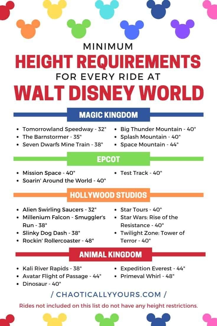 Disney Height Requirements For Every Single Ride At Wdw  Printable Disney World Attractions List