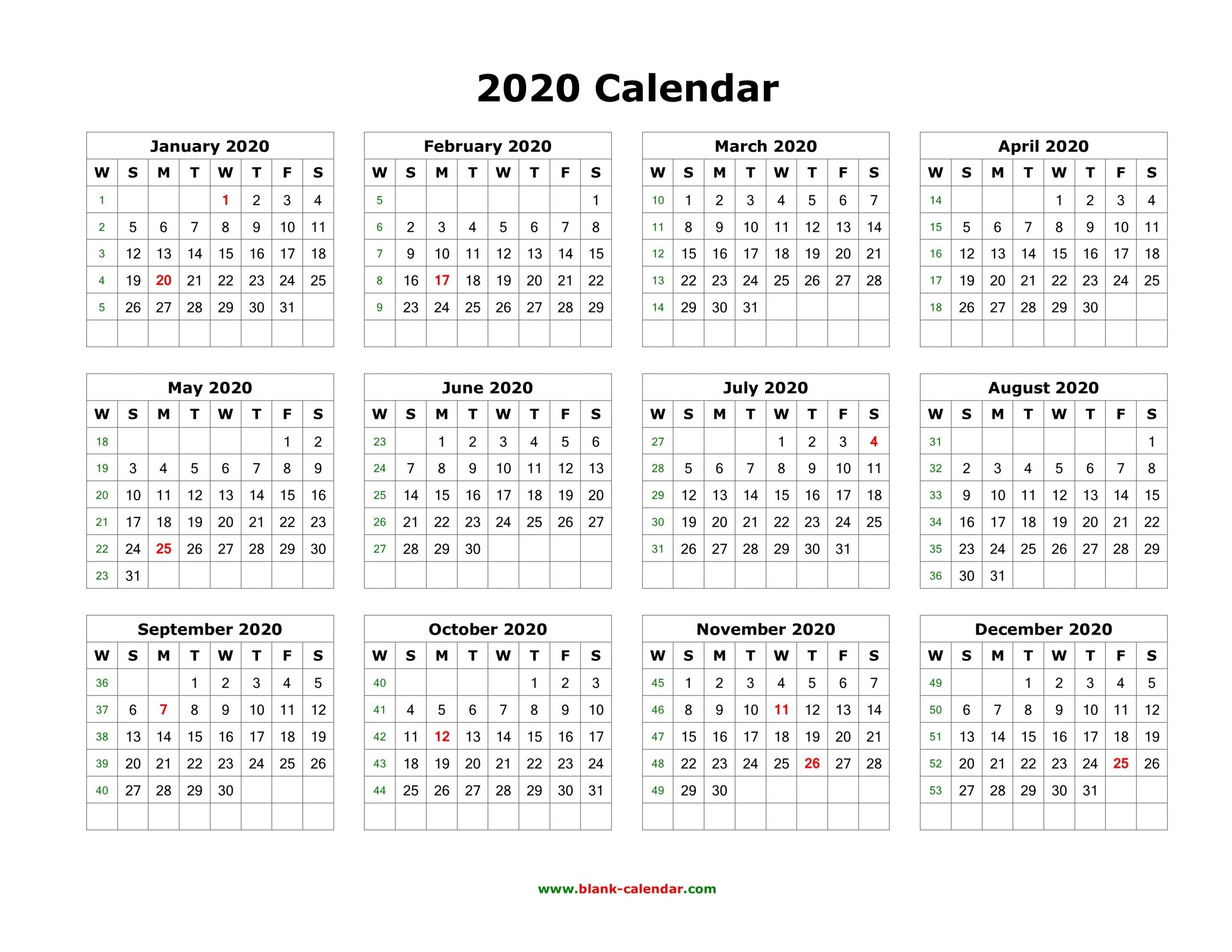 Download Blank Calendar 2020 (12 Months On One Page, Horizontal)  Free Printable Calendar 12 Months