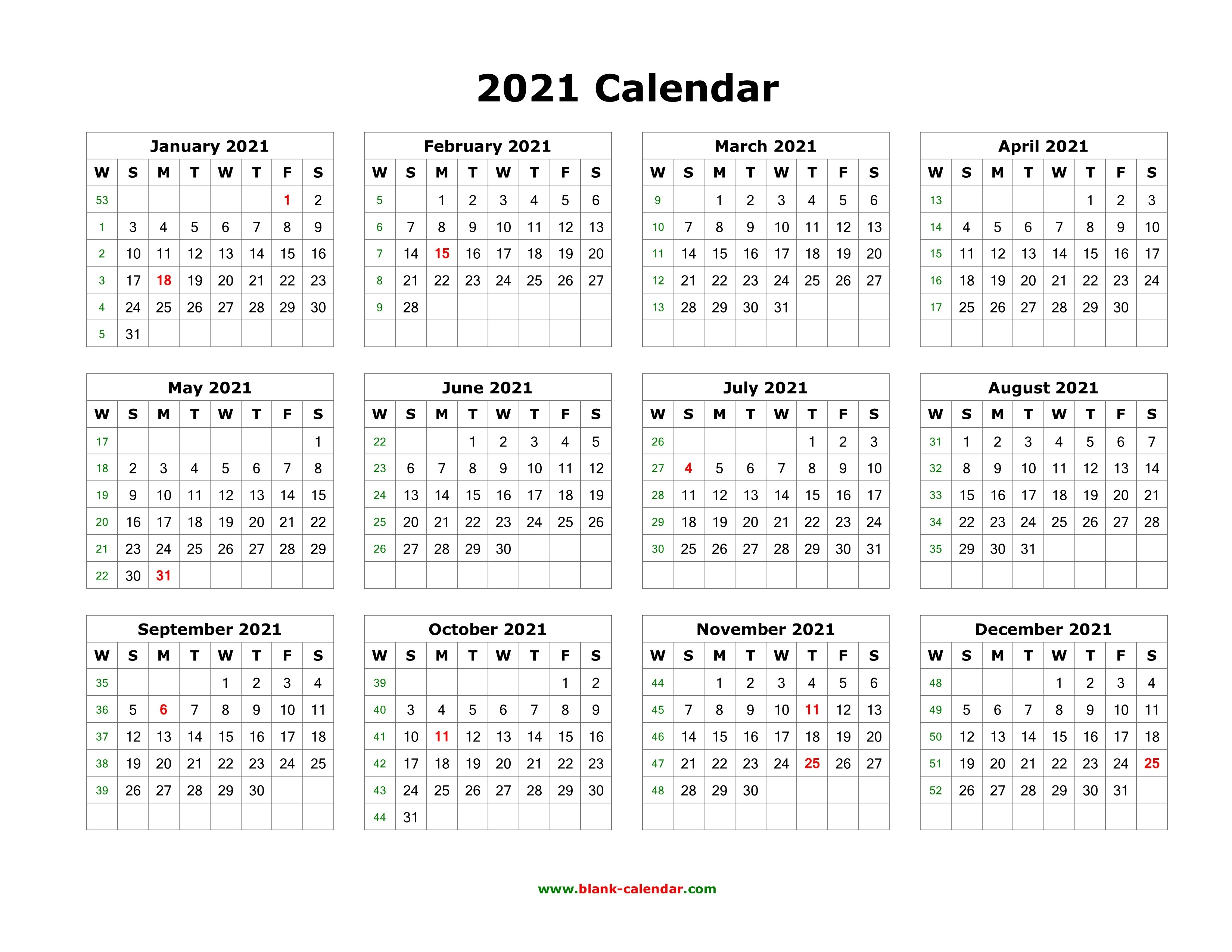 Download Blank Calendar 2021 (12 Months On One Page, Horizontal)  2021 Calendar Printable One Page Free