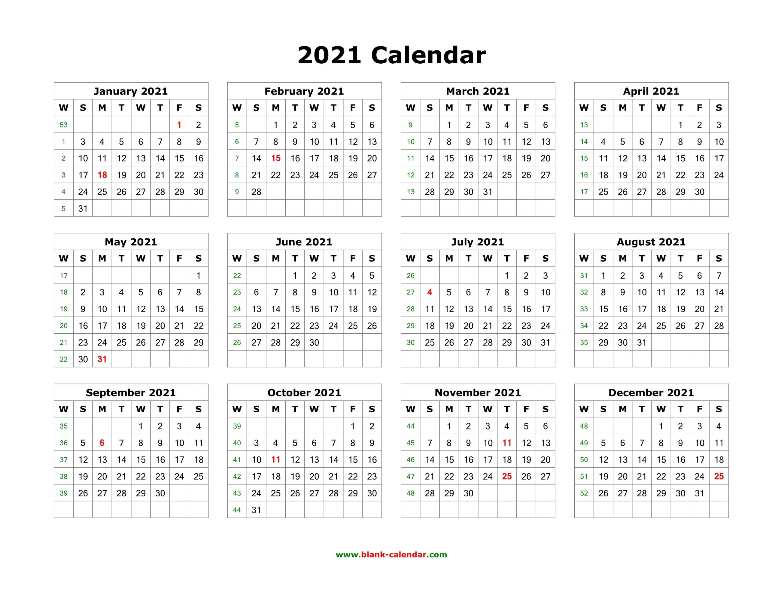Download Blank Calendar 2021 (12 Months On One Page, Horizontal)  Printable 2021 Calendar One Sheet