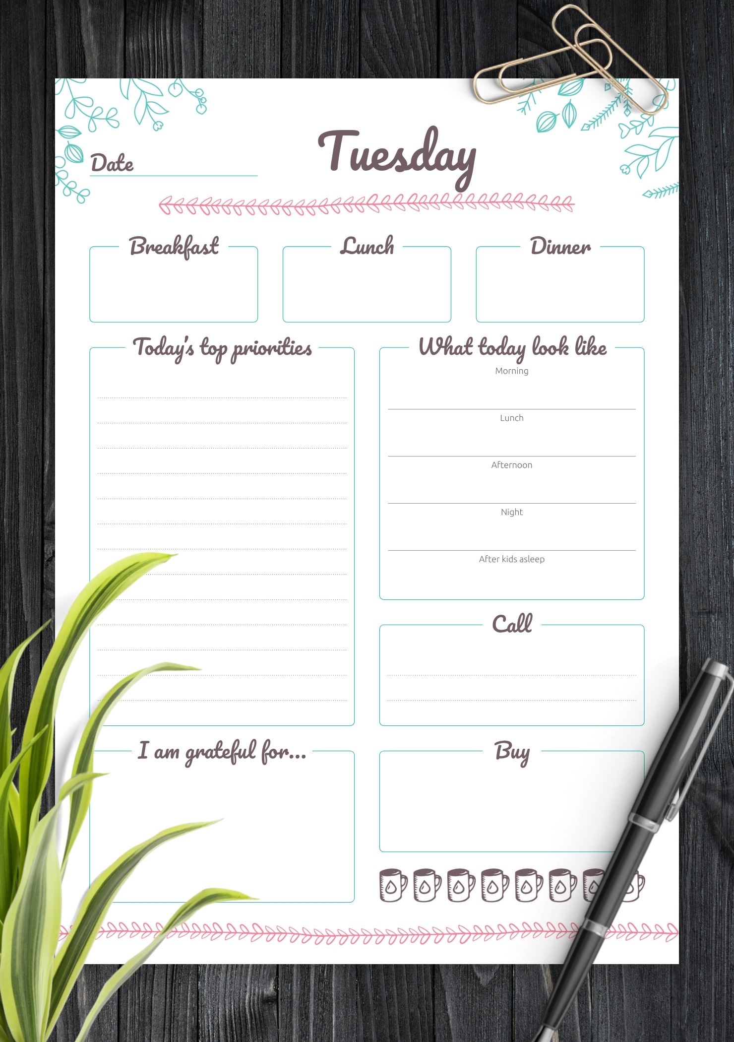Download Printable 7 Days Weekly Planner Pdf  Weekly Planner Printable Day 7