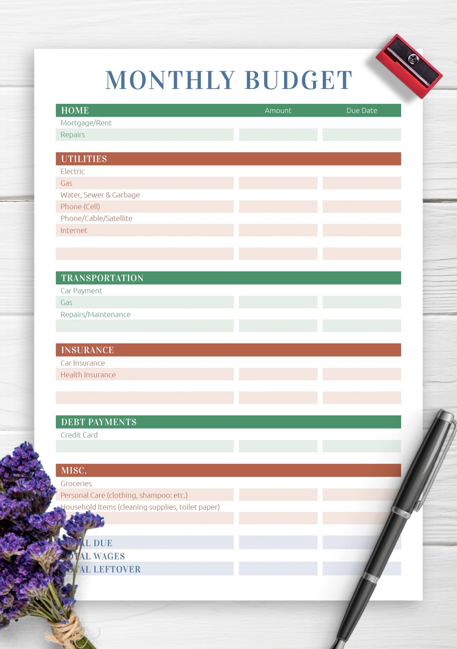 Download Printable Monthly Household Budget Pdf  Monthly Bill Worksheet Pdf