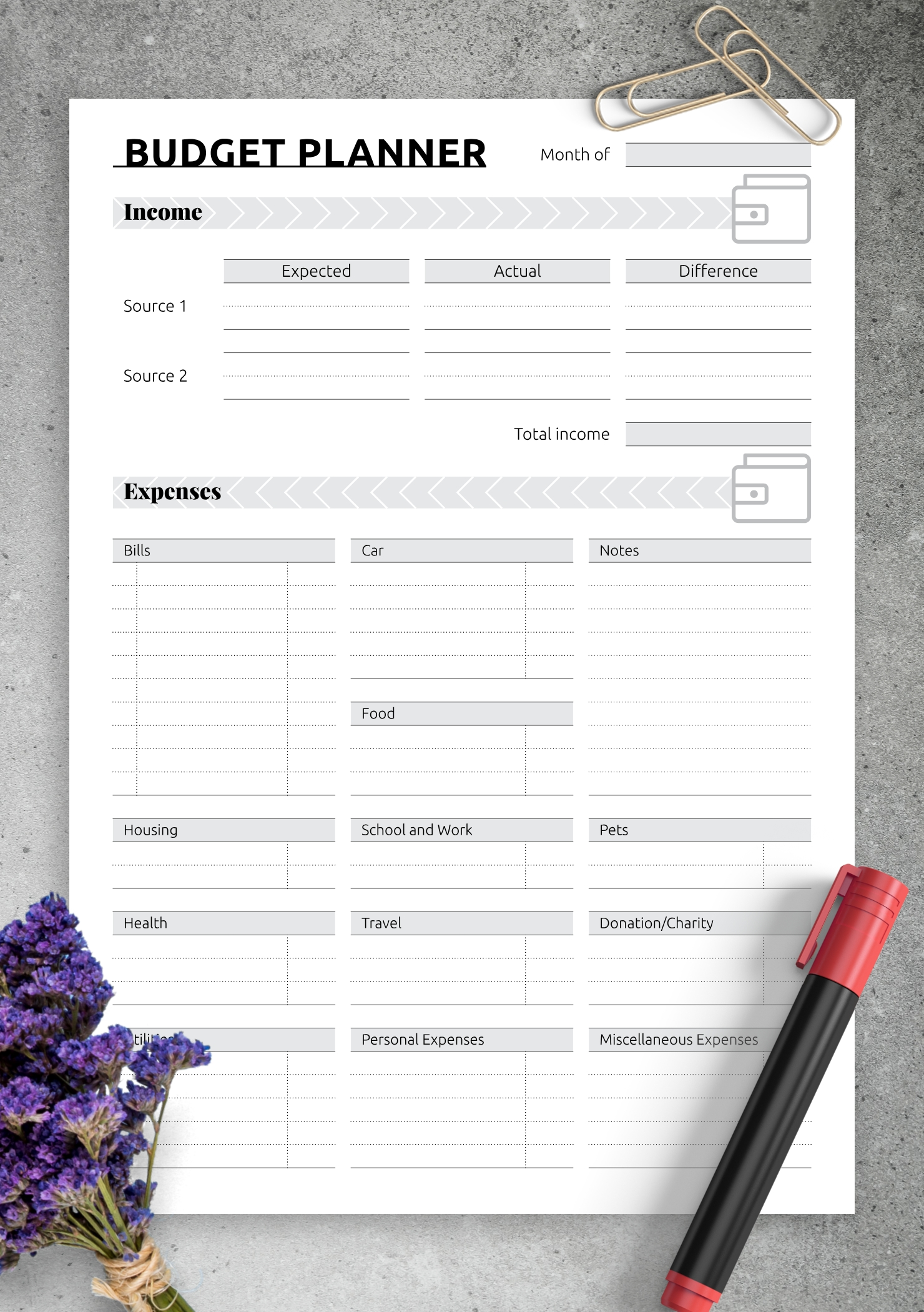 Download Printable Simple Monthly Budget Template Pdf  Monthly Bill Worksheet Pdf