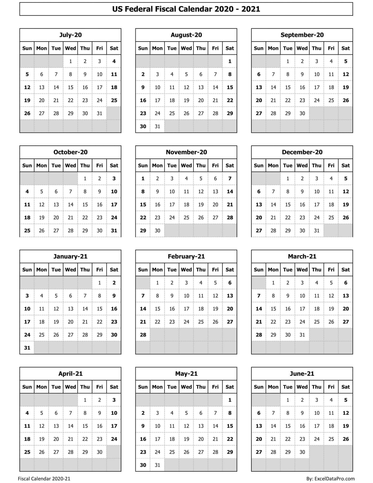 Download Us Federal Fiscal Calendar 2020-21 Excel Template  Australian 2020 Financial Year Calendar
