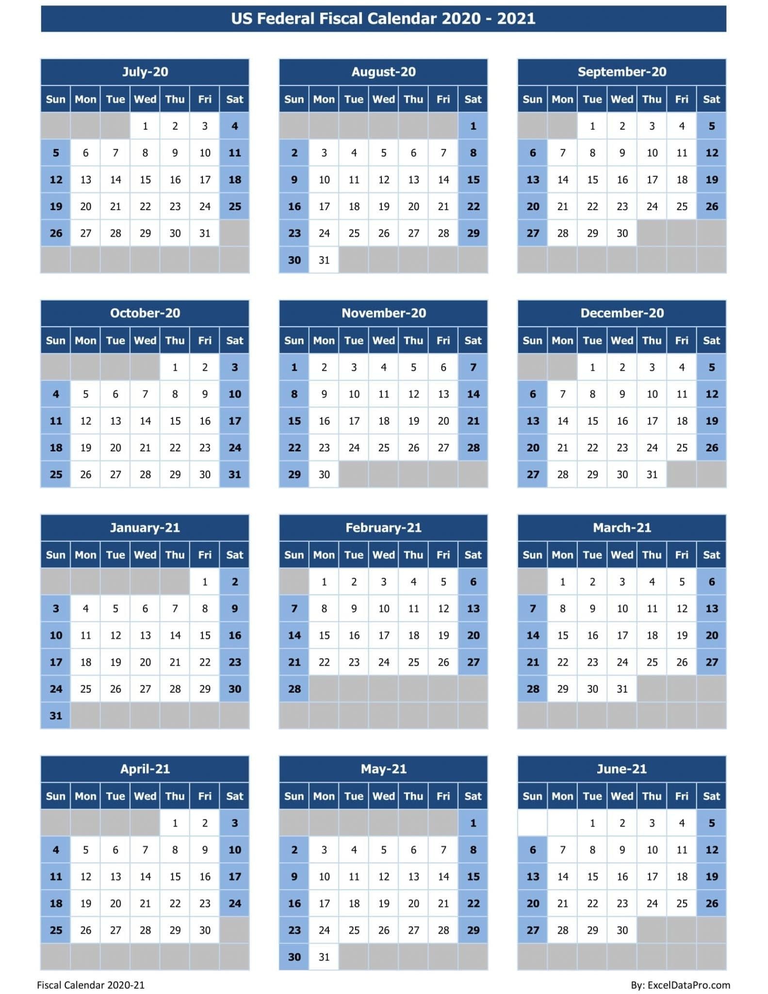 Download Us Federal Fiscal Calendar 2020-21 Excel Template  Download Financial Year Calendar