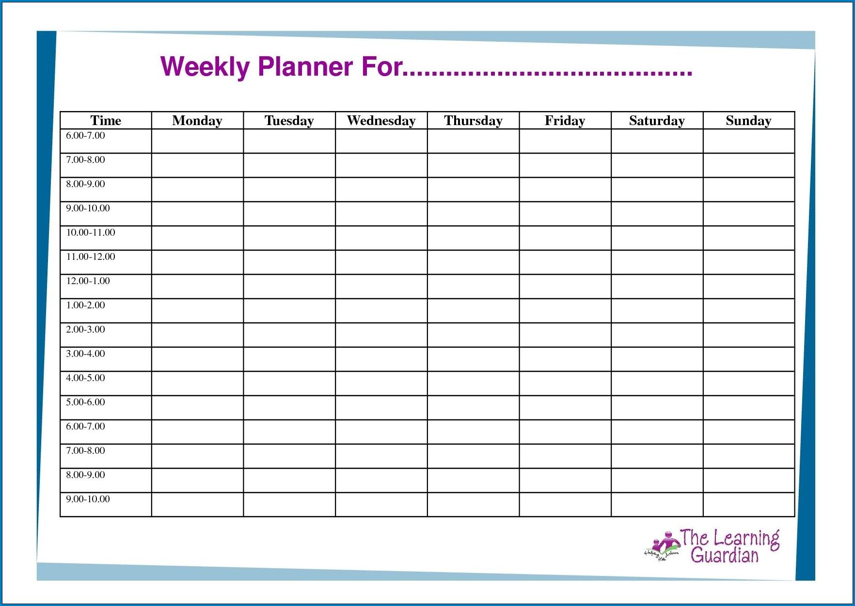 √ Free Printable 7 Day Schedule Template | Templateral  Weekly Planner Printable Day 7