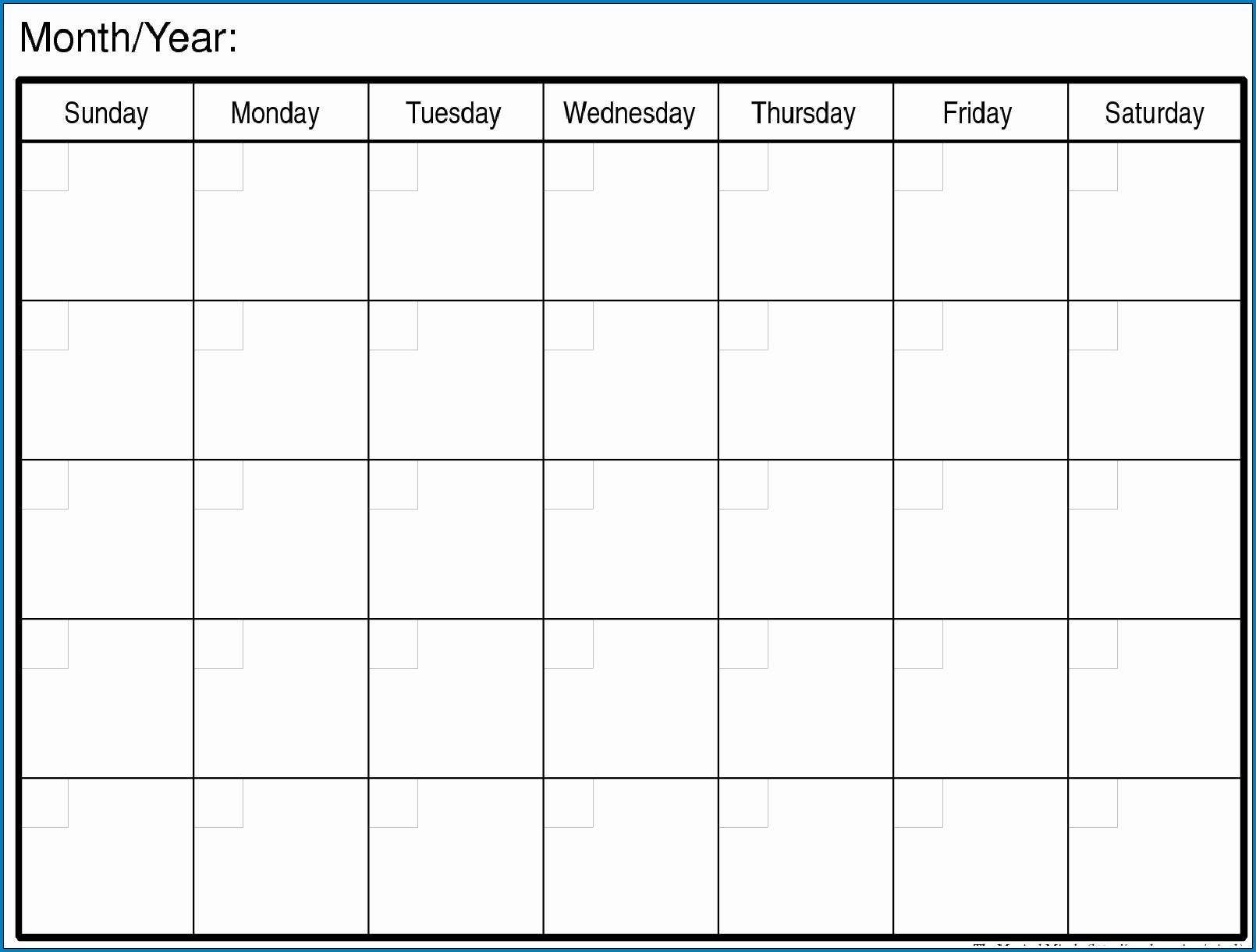 √ Free Printable Blank Monthly Calendar Template | Templateral  Printable Monthly Calendar Templates