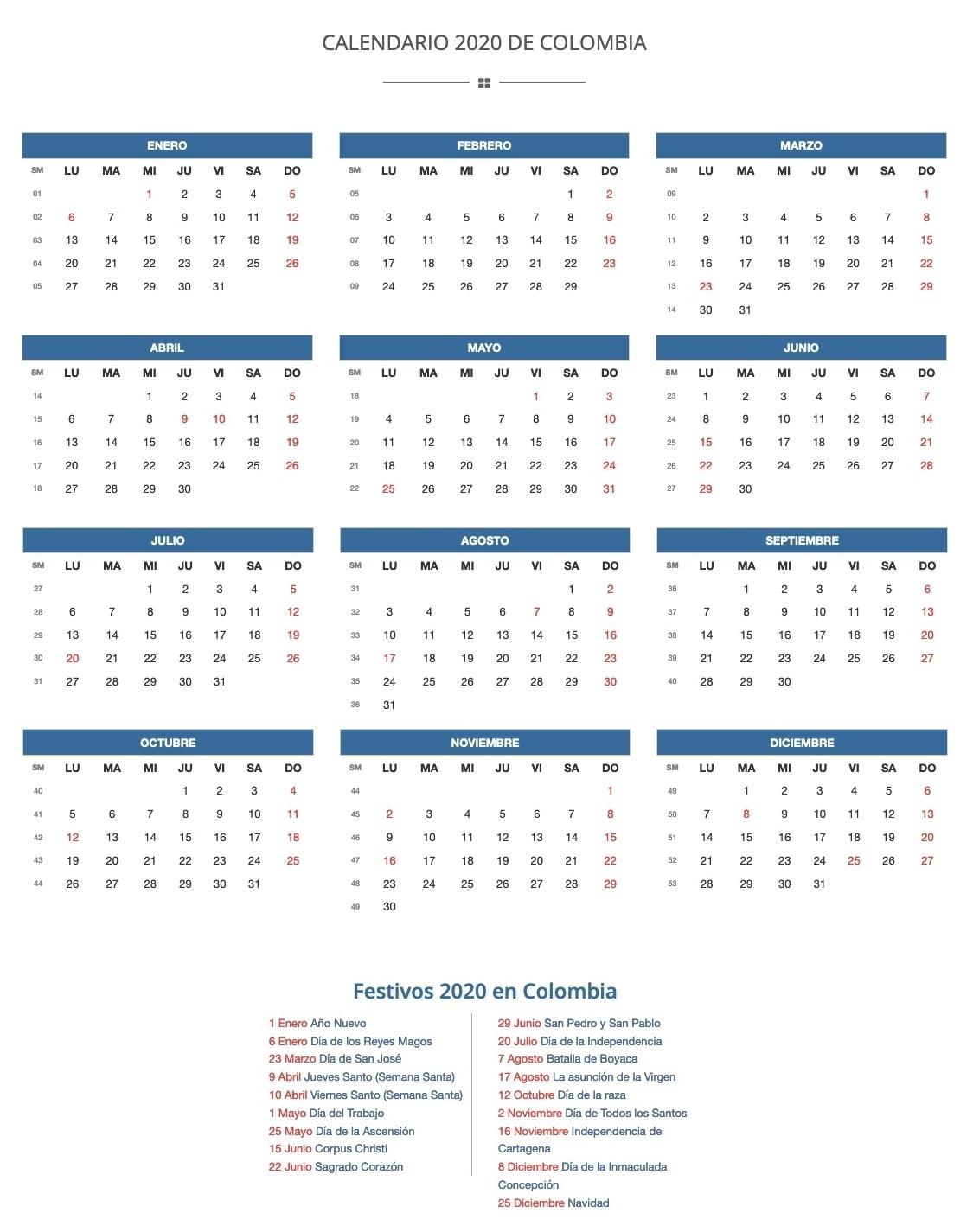 ▷ Calendario 2020 De Colombia | Festivos 2020  Dia Juliano 2021