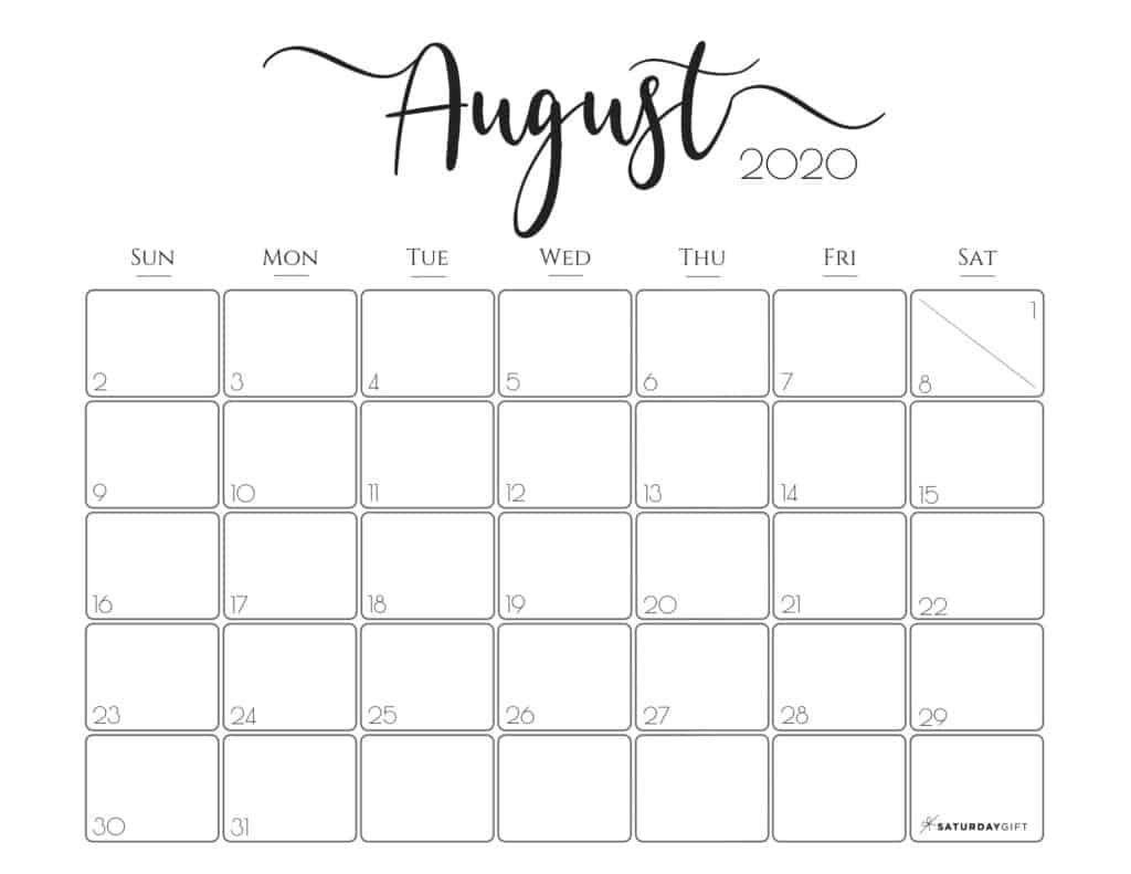 Elegant Horizontal 2020 Calendar August - Free Printables In  Calendar 2021 August To December