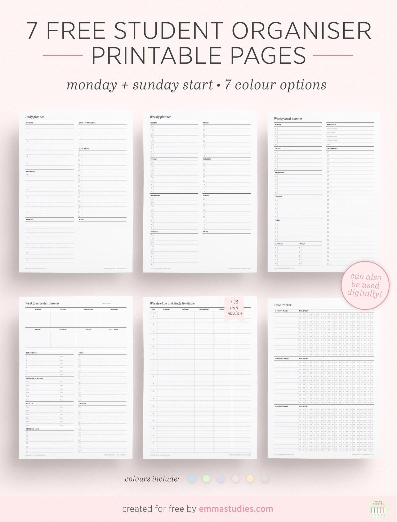 Emma'S Studyblr  Desktop Scheduler Free Download To Print Out