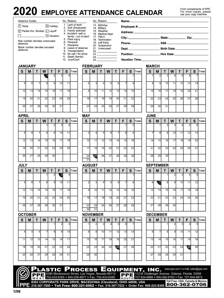 Employee Attendance Calendar 2020 - Fill Online, Printable  Printable Attendance Calendars 2021