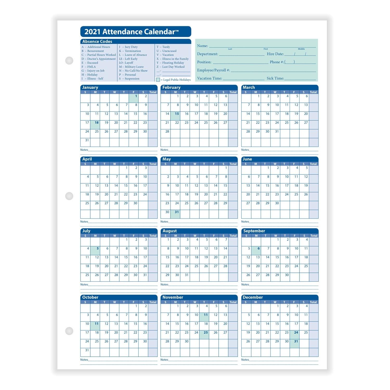 Employee Attendance Calendar  Printable Attendance Calendar 2021