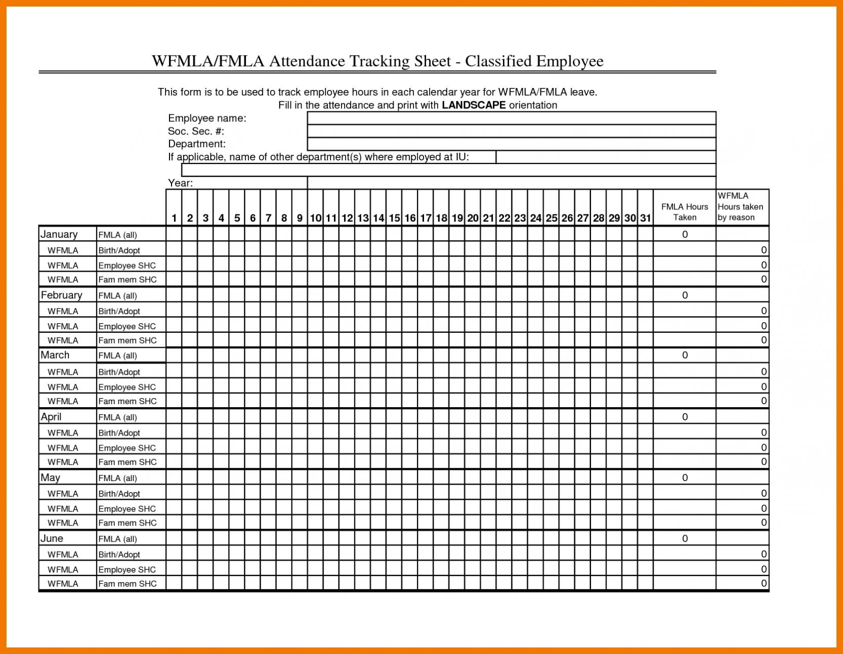 Employee Attendance Sheet Excel Calendar | Paper Worksheets  Printable Employee Attendance Calendar Template